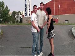 Super romantic video category blonde (915 sec). Petite little teen girl PUBLIC gangbang orgy with 2 guys with big dicks.