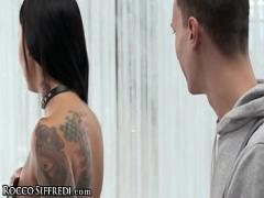 Adult sensual video category blowjob (601 sec). RoccoSiffredi Naughty Tattooed Chick Double Stuffed with Dick.