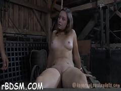 Download erotic category blowjob (300 sec). Gagged babe gets her racks bounded and clamped.