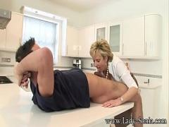 18+ amorous video category milf (604 sec). Lady Sonia Jerks Off Young Stud On Kitchen Counter.