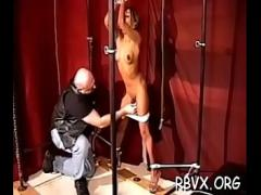 Nice amorous video category bdsm (307 sec). Floozy gets her pussy eaten out while being thonged.