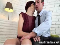 18+ amorous video category mature (375 sec). Granny gets snatch plowed.