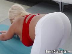 Genial erotic category big_tits (300 sec). Brandi Bae does yoga before interracial pussy stretching.
