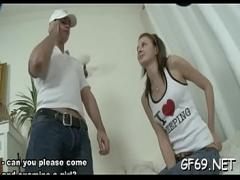 Sex sexual video category teen (300 sec). Cute bookworm is getting her pussy ravished by 2 guys.